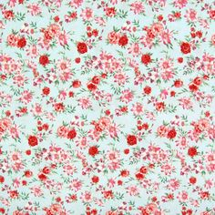 Floral Print Javanaise Viscose Fabric Light Blue Red Pink 148cm - Viscose Prints & Plains - Dressmaking Fabrics - Fabric