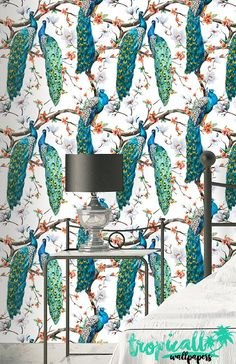 Peacock Pattern Wallpaper Removable Wallpaper by TropicWall