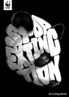 WWF: Stop global warming Best Creative Typography Inspiration panda