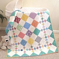 CRIB SIZE: x DIAMOND PATCH QUILT PATTERN. The neatest thing about making this quilt, is that you don't have to fool around with borders. When you finish sewing the rows together, the border is already on! Patchwork Quilting, Scrappy Quilts, Easy Quilts, Small Quilts, Mini Quilts, Hand Quilting, Modern Quilting, Machine Quilting, Modern Baby Quilts