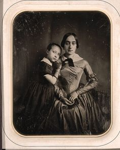 As with many early portrait photographs, there is a painting-like quality to the posses this lovely mother and daughter adopted as their image was snapped.