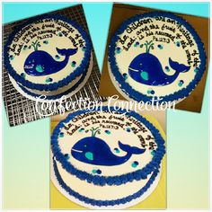 """Lo, children are an heritage of the Lord : and the fruit of the womb is his reward."" Psalms 127:3 Baby Shower Cake, Decorated Cake, Buttercream, Piping Gel, Custom Cakes,Whale Cake, Confection Connection"