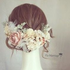 Soft antique color dress with tulle Source by polymerflowers Bridal Updo, Headpiece Wedding, Wedding Wishes, Diy Wedding, Flowers In Hair, Silk Flowers, Flower Headdress, Bridal Hair Inspiration, Hair Arrange