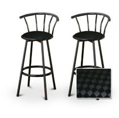 """2 Black Checkered Fabric Upholstery Custom Black Barstools with Backrest Set by The Furniture Cove. $145.87. Set of 2 Bar Stools. Black Metal Finish. These are new, 29"""" Black bar stools with footrests and swivel seats with a backrest! These feature a very soft Black Checkered Fabric upholstery. The pads are 14"""" across and the seat is 29"""" tall. The entire height is 39"""". The sides of the seat have nice metal work and there are feet protectors on the bottom of each leg. This i..."""