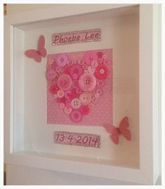 Newborn gift for baby girl boy personalised name and birthdate date of birth, button heart box frame