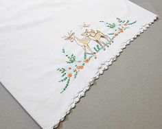 Embroidered Pillow Case Deer Embroidery by OutsideInArtStudio