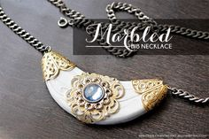 DIY: Marbled Bib Necklace using polymer clay and embellishments @mintedstrawberry.blogspot.com