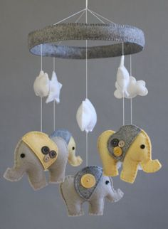 Shop for cheap DIY felt button elephant animal baby mobiles with stars and cloud - kids crafts, homemade baby mobiles