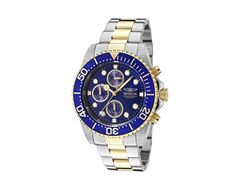 ShopHQ Shopping - Invicta Men's Pro Diver Quartz Chronograph Blue Dial Two-tone Stainless Steel Bracelet Watch. A bright blue dial and bezel make this Pro Diver watch stand out in your own personal collection and encourage you to reach for it if you' Mens Watches Under 100, Watches For Men, Men's Watches, Stainless Steel Watch, Stainless Steel Bracelet, Invicta Pro Diver Chronograph, Watch Sale, 18k Gold, Bracelet Watch