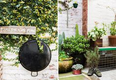 Old sneakers as planters + old wok/pan as wall hanging (Pop & Scott Home, The Design Files)