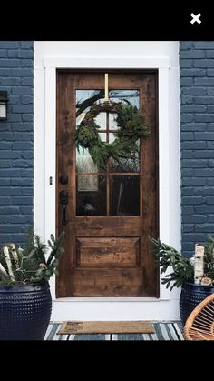 farm-style, mid century modern, contemporary rustic door, // handmade, custom fixer upper style entry door for your home Rustic House Exterior Exterior House Colors, Exterior Design, House Paint Exterior, Farmhouse Exterior Colors, Wood Exterior Door, Black Exterior Doors, Brick Exterior Makeover, Black Entry Doors, Dark Siding House
