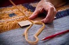 Ryijy In Process Inkle Weaving, Weaving Art, Tapestry Weaving, Hand Weaving, Karin Schmidt, Rya Rug, Latch Hook Rugs, Creative Textiles, Kinds Of Fabric