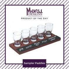 Beer flight sampling is becoming more prominent in today's #restaurant and #bar trends. Stay up to date with #custom made sampler paddles to show off your #beer selections. #productoftheday #menudesigns #drink