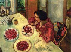 Marc Chagall, Bella e Ida a tavola, o 'Le fragole' (Bella and Ida at the table, or Strawberries), 1916, collezione privata, olio su tela, 45 x 59 cm