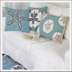 Seaside Inspired | sand dollar pillow from SeasideInspired.com.