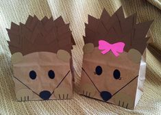 Hedgehog Treat Sacks - Woodland Forest Critter Porcupine Theme Birthday Party Goody Bags by jettabees on Etsy