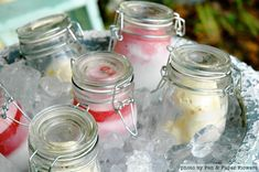 Precious dessert!  Ice cream in a jar- we would add a fabric strip tied around the top.