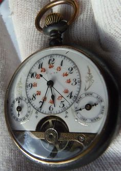 ANTIQUE WYSS FRERES HEBDOMAS STYLE EXHIBITION 8-DAY POCKET WATCH