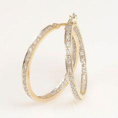 14K Yellow Gold Diamond Hoop Earrings #finejewelry #diamonds