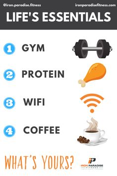 💥Here's a bit of fun for you on a Saturday💥  🤷🏼♂️ What are your Top 4 Modern Life Essentials?  🙋🏼♂️ For me it's the Gym, Protein, Wifi, and Coffee in that order.  🏋️ Gym - As @therock would say, the gym is my anchor. It gets my mind and body ready for the day and is my outlet for life's frustrations. Whatever my mood, I always walk out of the gym on a high.  🍗 Protein - After all, I need to make the most of those gym sessions, so high quality lean protein is my saviour. Feed me…