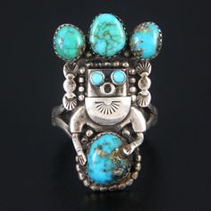 NAVAJO STERLING SILVER & TURQUOISE KACHINA RING by JERRY ROAN