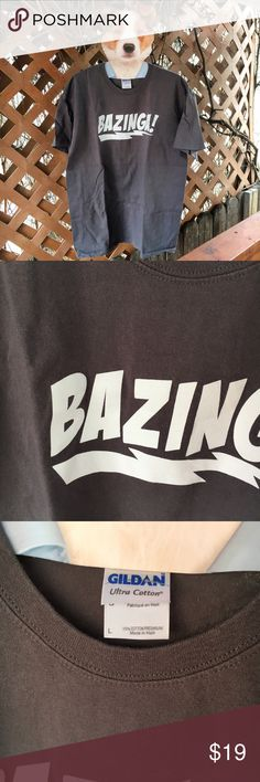 """Big Bang Theory 'BAZINGA!' Grey Men's T-Shirt L Like new! Only worn and washed once! Perfect for the """"Big Bang"""" lover! Sheldon Cooper's signature line, """"Bazinga!"""" Charcoal Gray with white text. 100% Cotton. Measurements to be posted ASAP. Please excuse the wrinkles, will steam before shipping! Offers warmly welcomed. wildarrow Shirts Tees - Short Sleeve"""