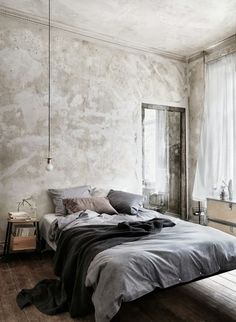 Grey and taupe tones. White curtain.