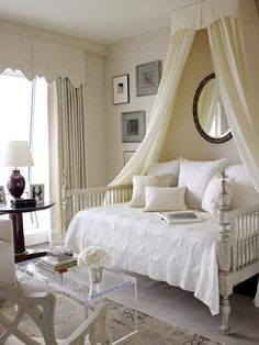 Wall fabric and curtains, Mark Alexander by Romo's Jahangir. Bed by Jim Howard. Bedding by Wamsutta.   - HouseBeautiful.com