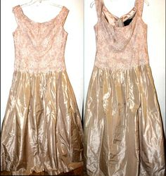 """Vintage Carmen Marc Valvo Evening Gown, With Beading Pear Beige, Size 14  Dress is in Great Condition, with general wear  From Smoke Free, Pet Free Environment  78% Silk 15% Nylon 7% Rayon  Measurements  Length - 57"""" Arm Pit to Arm Pit - 19 Chest - 36"""" Waist - 34""""  with Full Underslip  ALL SALES FINAL  Ebay's Price $129.99+ / Our Price U.S. Orders - $79.99 Shipped!"""