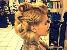 Glamorous pin up updo Vintage Hairstyles, Up Hairstyles, Braided Hairstyles, Crazy Braids, Competition Hair, Pinterest Hair, Hair Shows, Creative Hairstyles, Crazy Hair