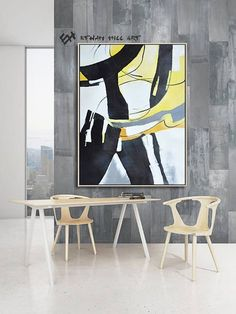 Ethan Hill Art Large Contemporary painting on canvas, vertical contempoaray art, black, white, yellow, orange, gray. FREE shipping. Ethan Hill Art No.H32V FREE shipping with DHL, FedEX International Express to everywhere in the world! ------------------------------- DETAILS