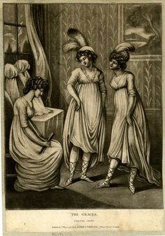 Three women in regency dress, two standing and displaying their sandals to the third, who sits on the left; with a dressing table to left in front of a window, and a landscape on the wall.  1798 Mezzotint with etching