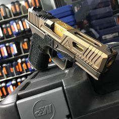 Agency Cooking Recipe for Hot 1 part Lonewolf, 1 part Glock, a tablespoon of Midnight Bronze, a tablespoon of Burnt Bronze and a dash of TiN for flavor. Agency Arms, The Agency, Handgun, Firearms, Gun Art, Cooking 101, Pew Pew, Weapons, Tin