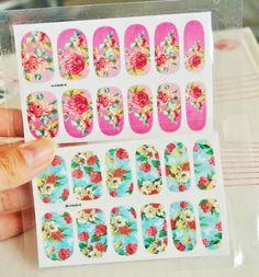 Flower Nail Wrap,pink Rose Nail Wrap,Blue Rose Nail wrap,Accessories,Water Transfer, Nail Art,Make-up,Gifts,Nail stickers