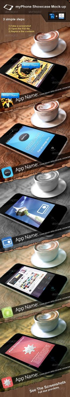 """myPhone Showcase Mock-up  #GraphicRiver        More great files:                 Item description:  Get a realistic showcase mockup to your iPhone applications / websites / games … with """"myPhone Showcase Mockup"""", the background was created in 3Ds Max.   Size: 2000×1600px  All you have to do is a three simple steps:   Take a screenshot  Open the PSD file  Replace the contents    Fully layered and fully editable PSD file, easy to modify / change colors, add / remove text, place…"""