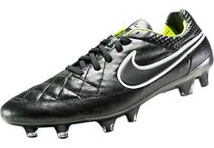 Nike Tiempo Legend V FG Soccer Cleats - Black and Volt