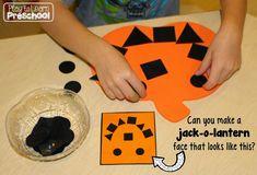 Easy Jack-o-Lanterns - Using visual discrimination skills to make pumpkin faces |Play to Learn Preschool|