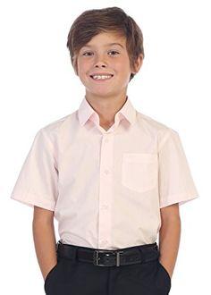 Gioberti Boy's Short Sleeve Solid Dress Shirt, Pink, 4
