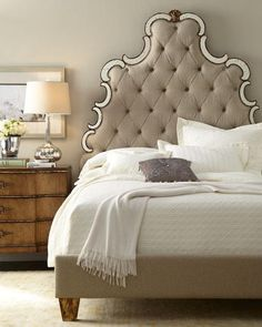 Horchow tufted headboard with mirror accents