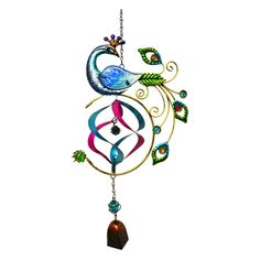 Great World Peacock Stained Glass Hanger with Bell - 67501