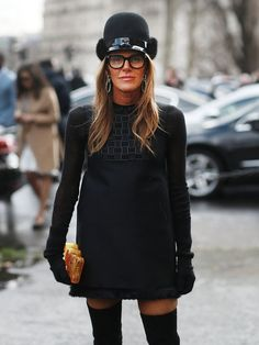 Anna Dello Russo tried a new hat on for size. #streetstyle at Paris Fashion Week Fall 2014 #PFW