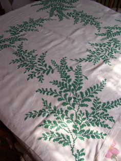 Cross Stitch Tablecloth Green Fern Pattern by FabVintageEstates, $22.00