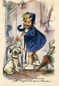 Vintage blue bonnet.....I love these little french Germaine Bouret children illustrations