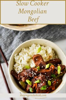 This Slow Cooker Mongolian Beef cooks to melt-in-your-mouth tender! Studded with onions, green peppers and shredded carrots, this Asian weeknight meal takes only minutes to throw together and is a perfect healthy family recipe! Healthy Beef Recipes, Healthy Meals For Kids, Kids Meals, Slow Cooker Mongolian Beef Recipe, Mongolian Beef Recipes, Beef And Rice, Veggie Side Dishes, Recipe Community, Weeknight Meals