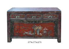 Mongolian Antique Flower Vase Buffet Table TV Stand Cabinet - Golden Lotus Antiques