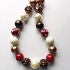 Brown, Burgundy, and Faux Pearl Chunky Bubblegum Necklace by Baublesandbowstoo on Etsy https://www.etsy.com/listing/245088584/brown-burgundy-and-faux-pearl-chunky