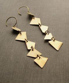 Long Brass Geometric Shapes - Earrings
