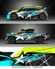 Car decal wrap, Truck and cargo van design vector. Graphic abstract stripe racing background kit designs for wrap vehicle, race car, rally, adventure and livery Logo Autos, Racing Car Design, Sport Design, Van Design, Cargo Van, Car Painting, Rally Car, Car Wrap, Car Decals