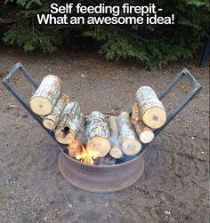 Self feeding fire pit.