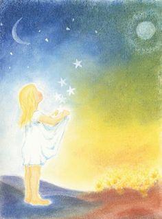 Advent ~ Week Four: The Light of Humankind ~ Star Child ~ painting Mehr Chalkboard Drawings, Chalkboard Art, Blackboard Drawing, Lazure Painting, Rudolf Steiner, Waldorf Education, Star Children, Love Illustration, Star Sky